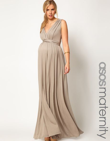 1f1df6fef11 Asos Maternity Maxi Dress in Grecian Drape in Beige (mauvewood) - Lyst http