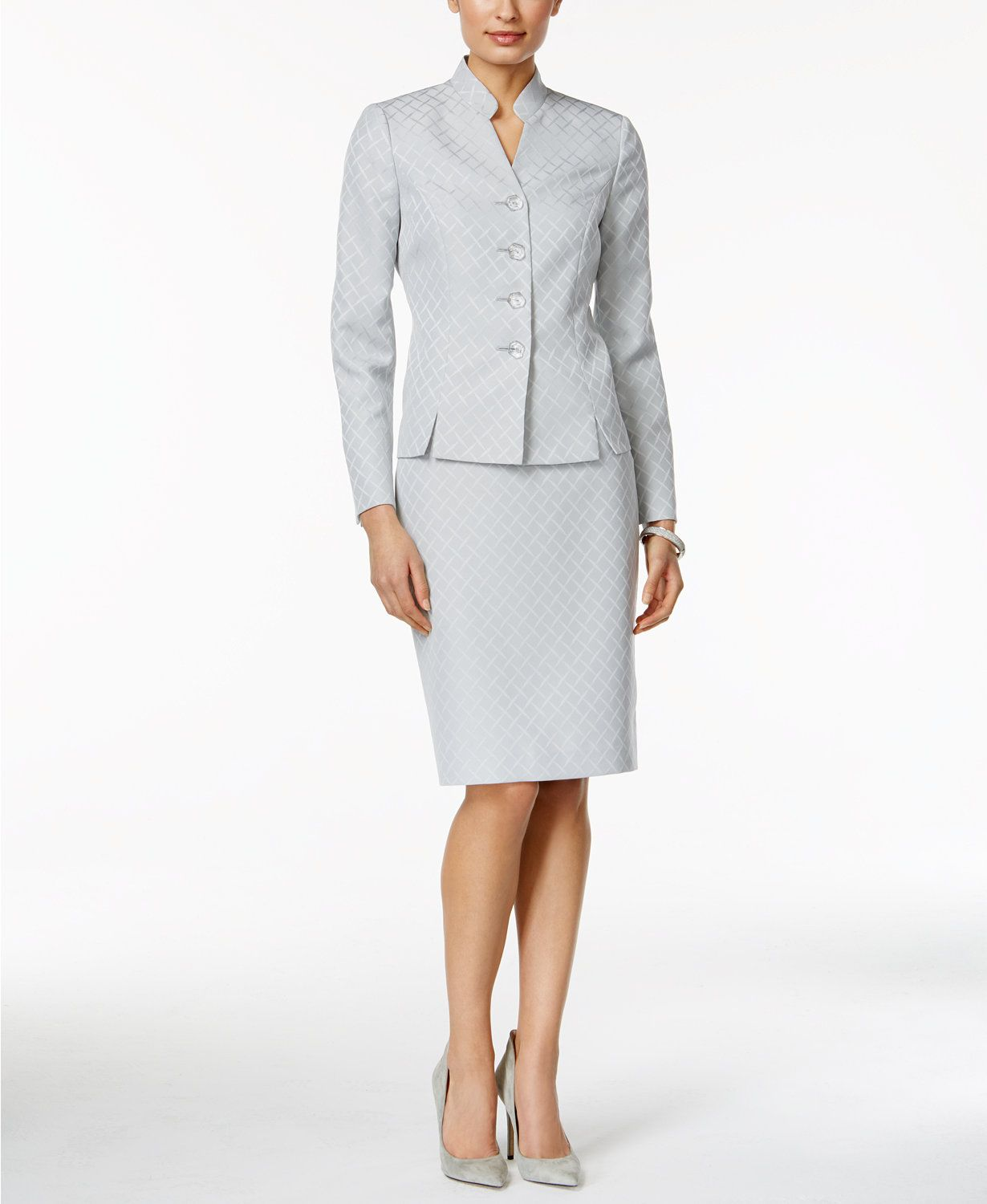 Le Suit Printed Stand Collar Skirt Suit | macys.com | dresses ...