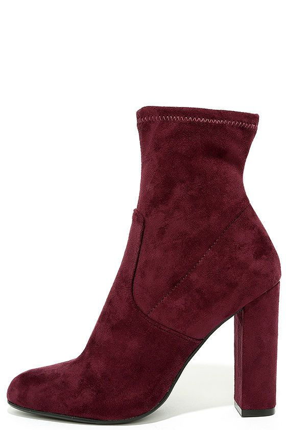 110cb53546d Give your ensemble an instant update with the Steve Madden Edit Burgundy Suede  High Heel Mid-Calf Boots! Every it-girl will want these vegan suede booties  ...