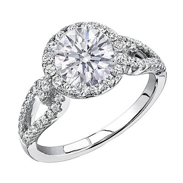 Round Diamond Halo Engagment ring Open Horseshoe pave band 0.59 tcw in 14K White Gold