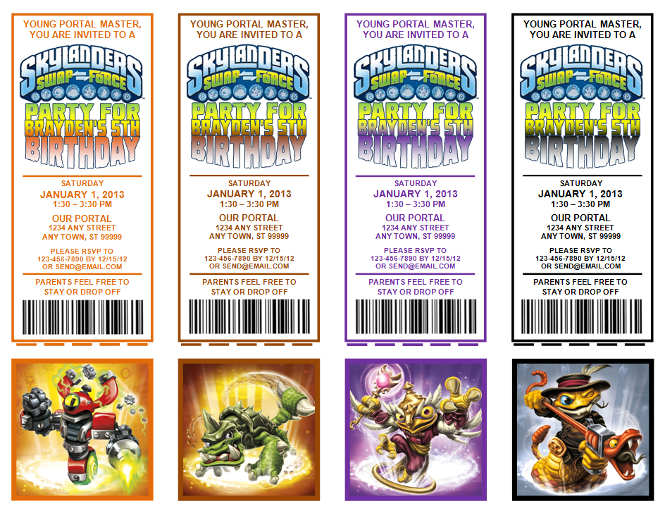 Skylanders Party Invitations UPrint (4) Tickets per PDF file - Swap Force Pack 2