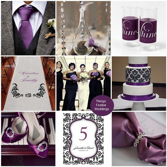 Black And Purple Wedding Ideas: Purple & Black Wedding Color Palette. Damask Gives The
