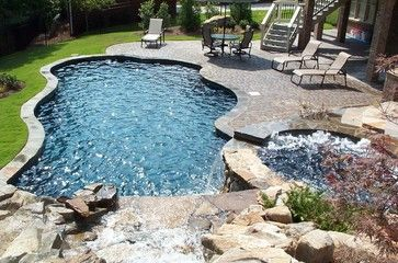 A Craftsman Pool with Spa and Waterfall Features - craftsman ...
