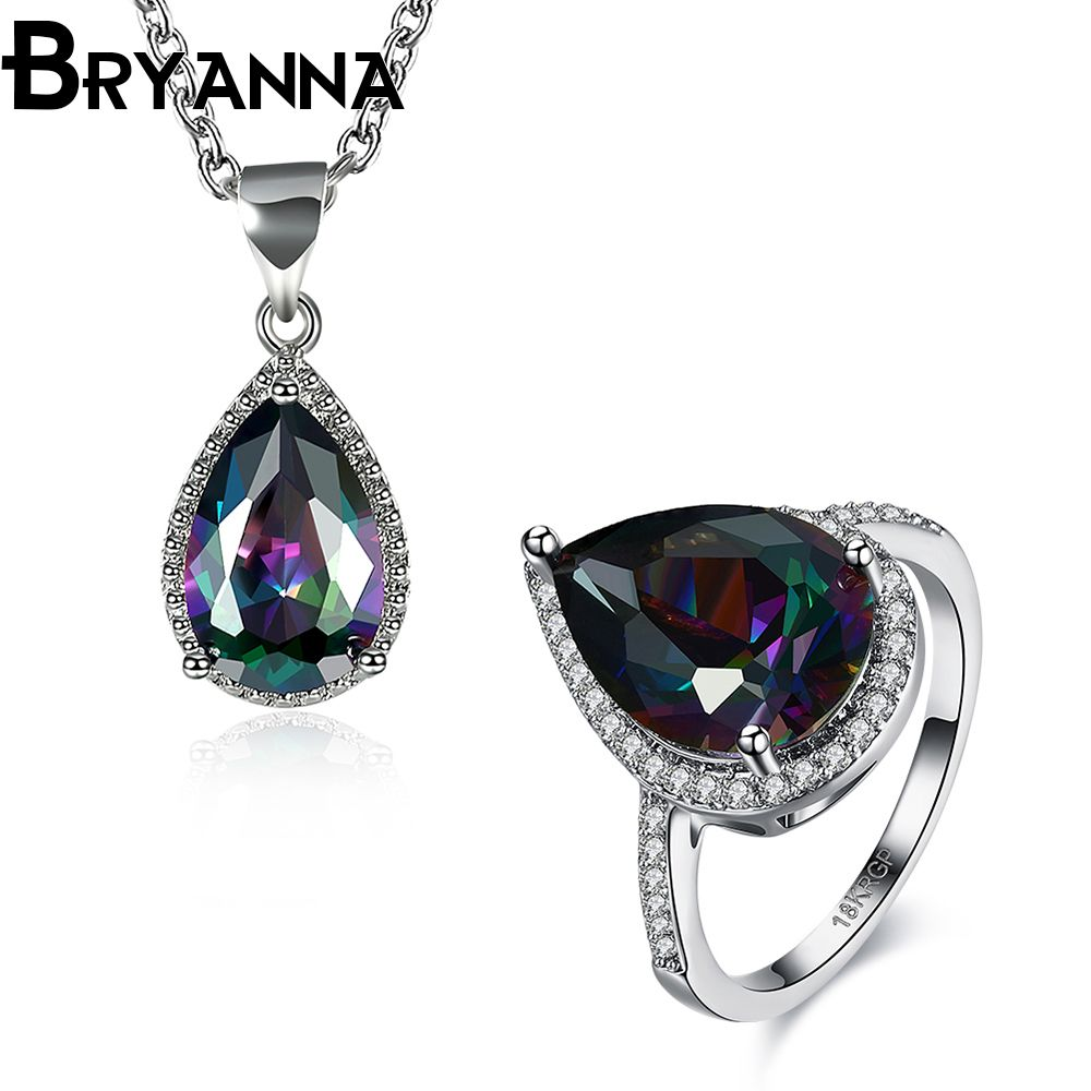 Bryanna luxurious white gold color ring neclace jewelry sets for