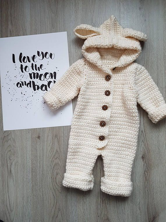 Photo of CROCHET PATTERN, BABY, Romper, Coverall, Hooded, baby, Bunting, Overall, Crochet, Printable Pdf, us terms, Haylie, Snowsuit, buttoned, lamb