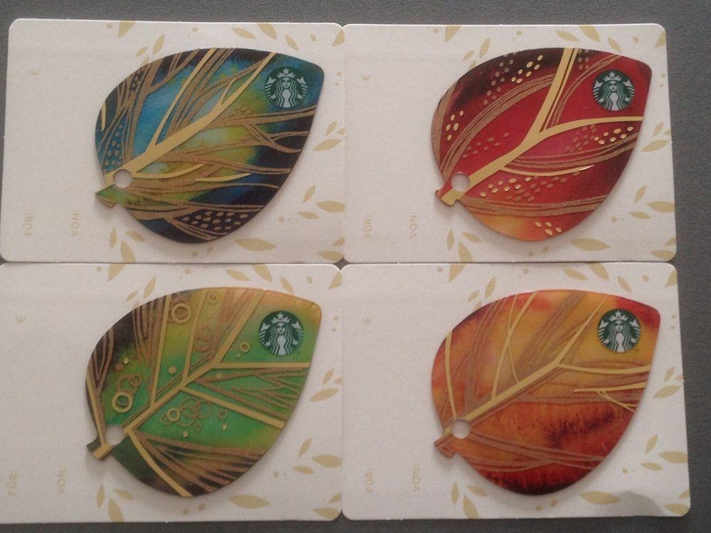 Starbucks Card Fall Leaves Autumn Set Of 4 New Released Gift Cards Germany Starbucks Card Fall Sets Gift Card