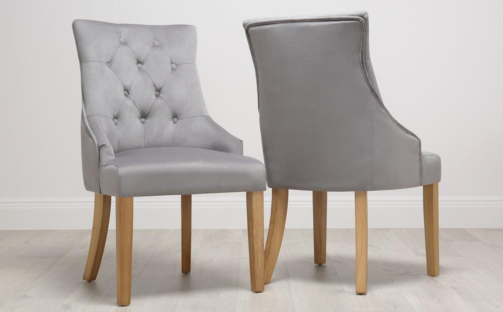 Duke Velvet Button Back Dining Chair Grey Oak Leg In 2020
