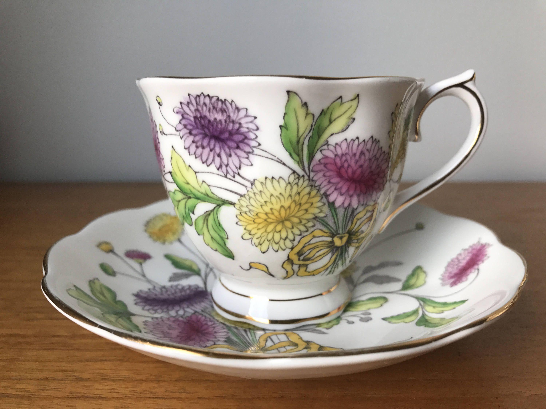 """Royal Albert """"Chrysanthemum"""" Tea Cup and Saucer, November"""