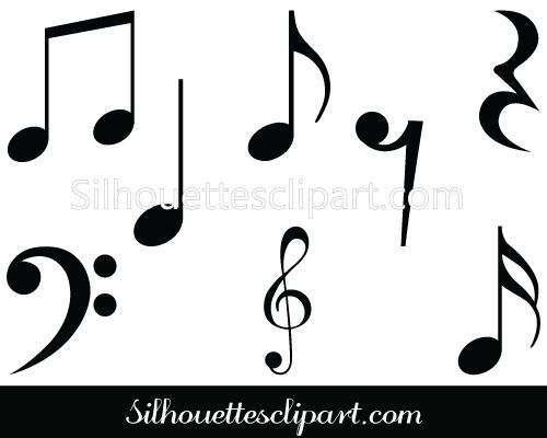 music notes symbols silhouette musical notes clipart paper rh pinterest com Music Notes Single Music Notes