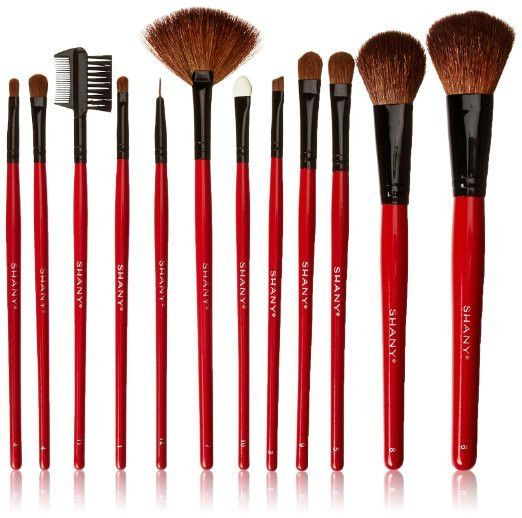 12 Pc Natural Goat And Badger Cosmetic Makeup Brush Set Red Pouch Contour The Accessory Nook 2 Cosmetic Brush Set Makeup Brush Set Shany Makeup