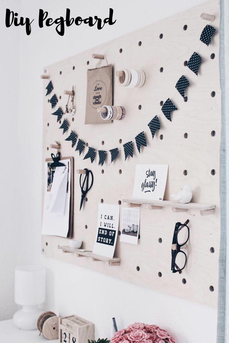 diy lochbrett pinnwand selber machen basteln mit holz. Black Bedroom Furniture Sets. Home Design Ideas