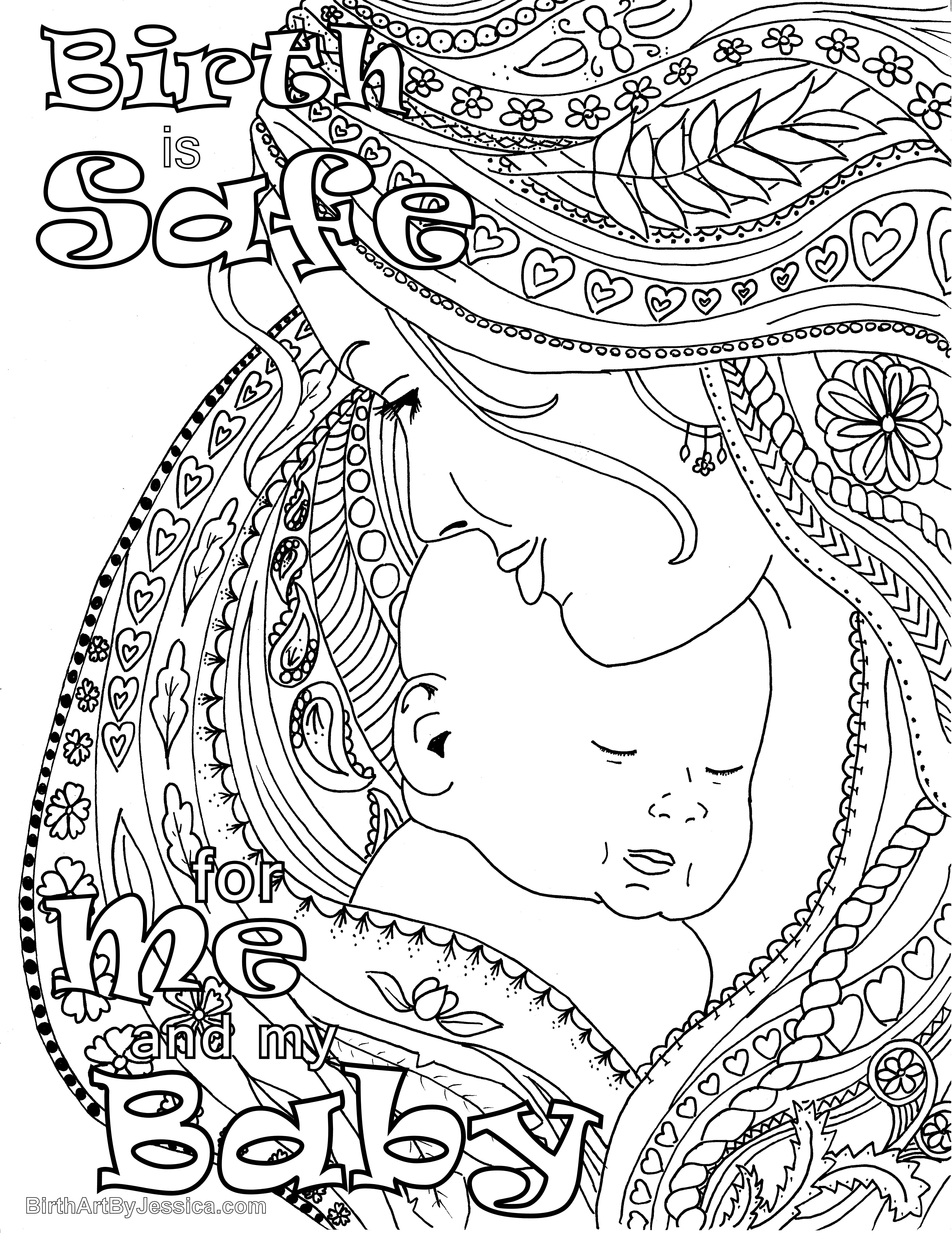 birth affirmation coloring page free printable birth is safe for me and my