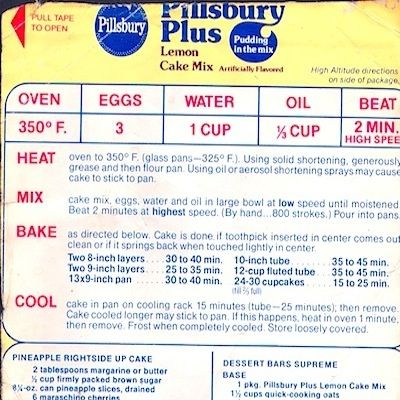 Pillsbury yellow cake mix recipe