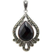 Marcasite Cute Faceted blue sandstone Teardrop 925 Sterling Silver Pendant 40*20mm