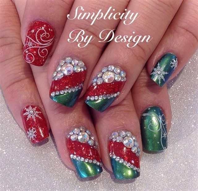 Day 359 Merry Christmas Nail Art Pinterest