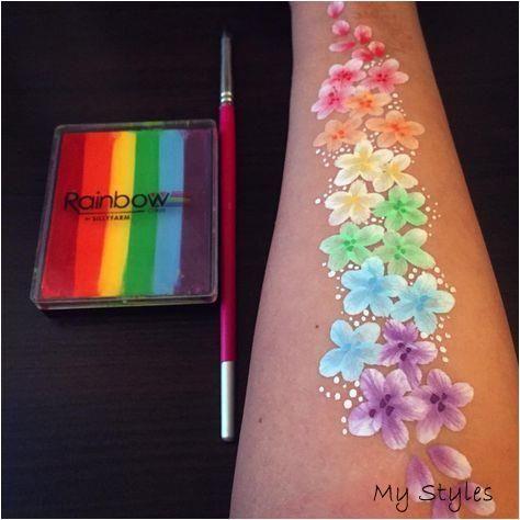 Video: Rainbow Flowers Arm Design #Body #Painting