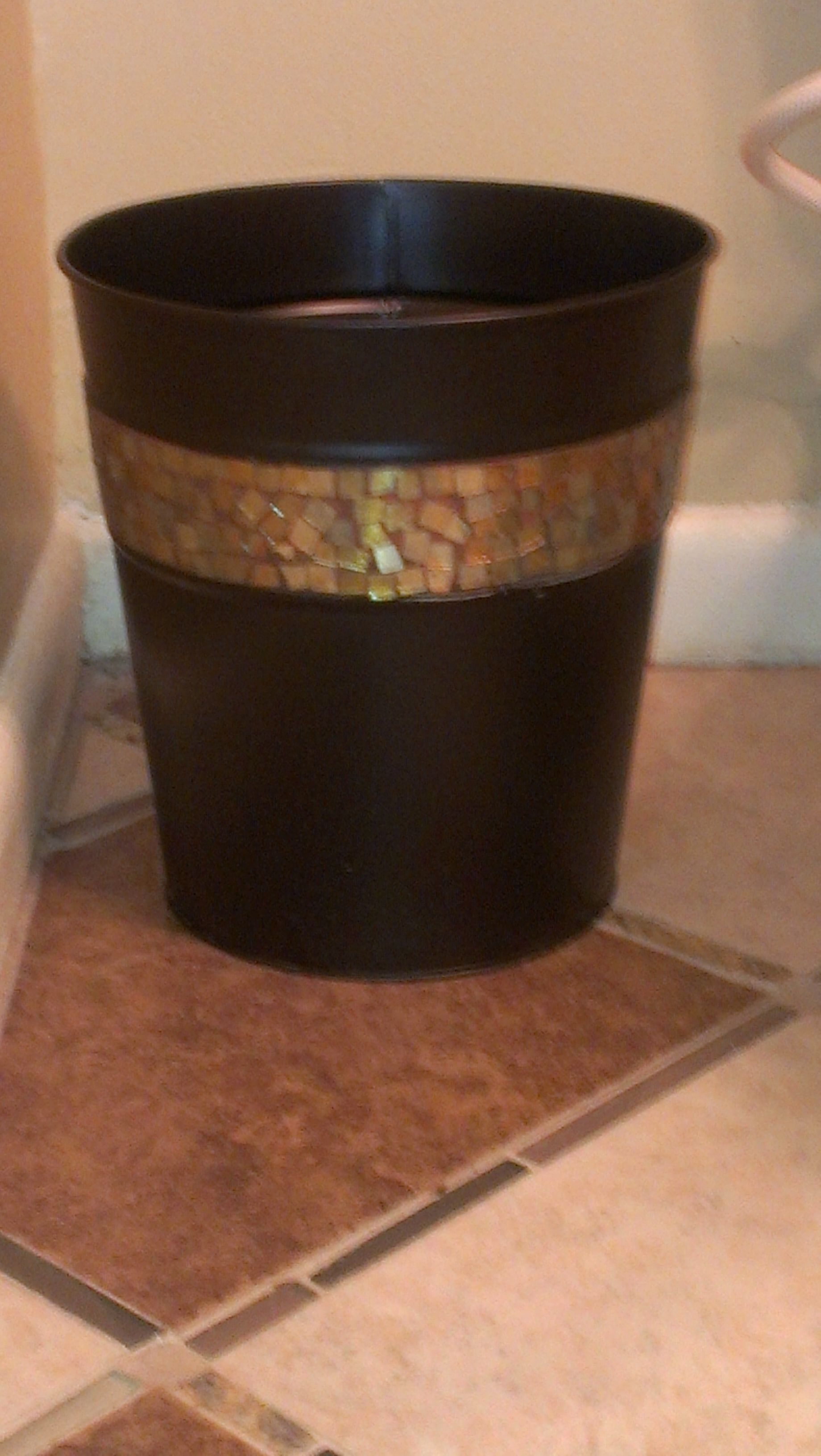 Bronze Bathroom Trash Can. After Bronze Trash Can With Glass Mosaic Band Saw It At Tjmaxx For