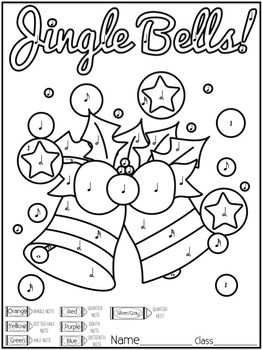 Christmas Color-by-Note Music Coloring Pages | Music Sub ...