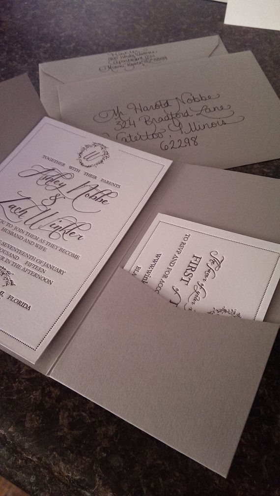 Affordable letterpress wedding invitations charcoal and dove grey ...
