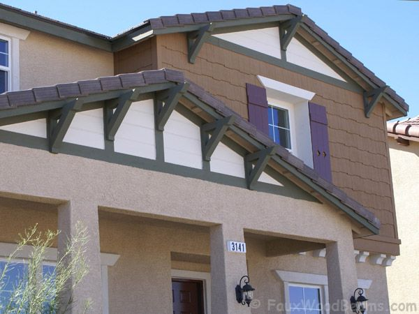 Faux Wood Outlookers The Triangular Pieces Under The Roof Line Are An Easy Way To Dress Up A Traditional Exteri Traditional Exterior Faux Wood Beams Exterior