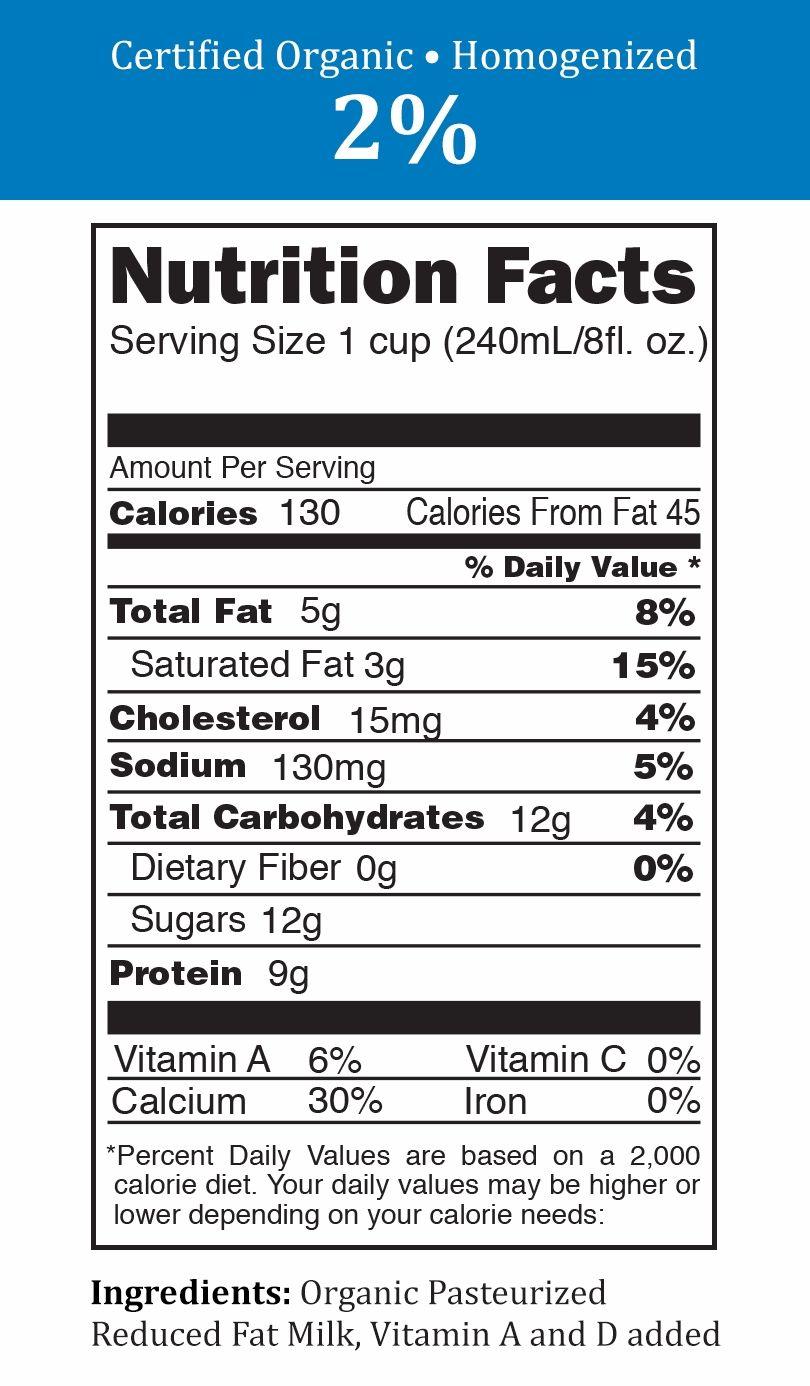2 Percent Milk Nutrition Information - bapyaw