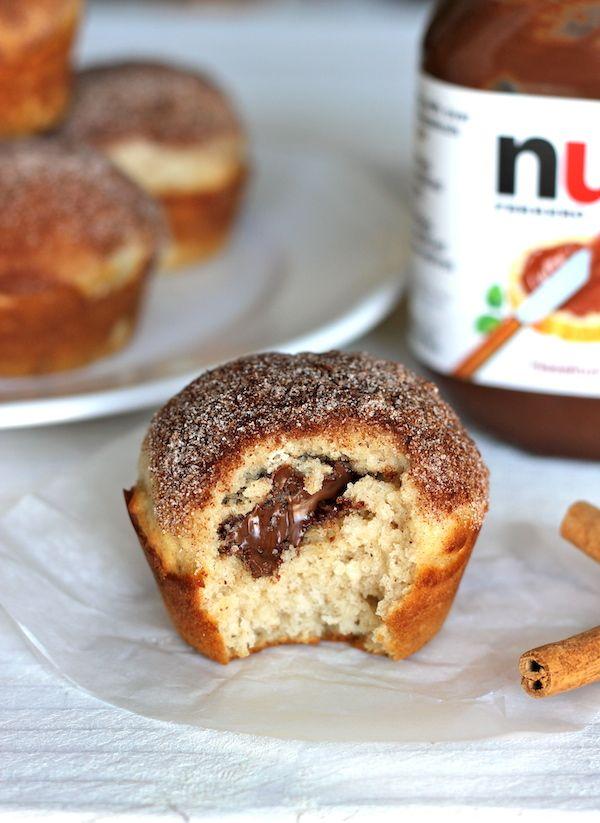 Nutella-gevulde kaneel-suiker muffins