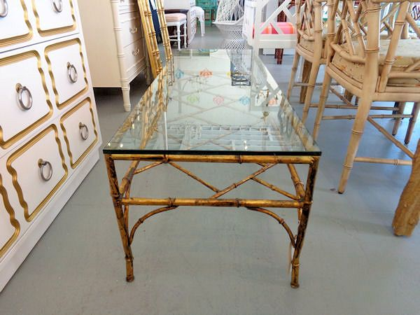 Gold Gilt Faux Bamboo Coffee Table | CircaWho.com | Gold GILT Faux Bamboo  Coffee