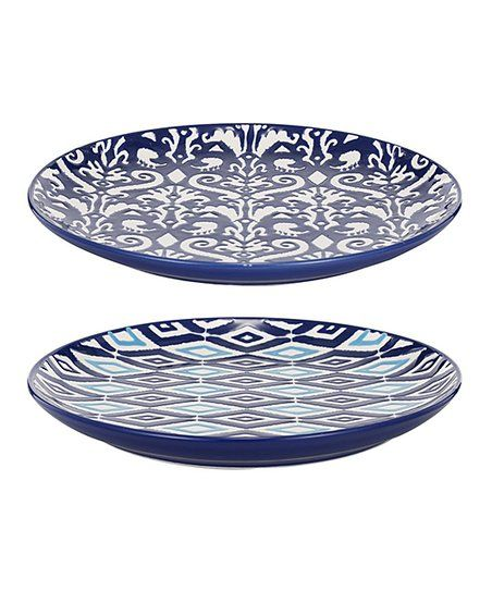 Established 98 Blue Floral & Geometric Plate - Set of Two | Zulily #dishware