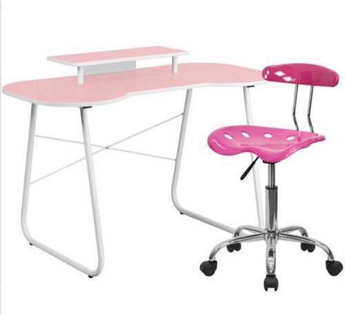 Pink Computer Desk and Chair Set Student Home Office Dorm Study Girls Furniture