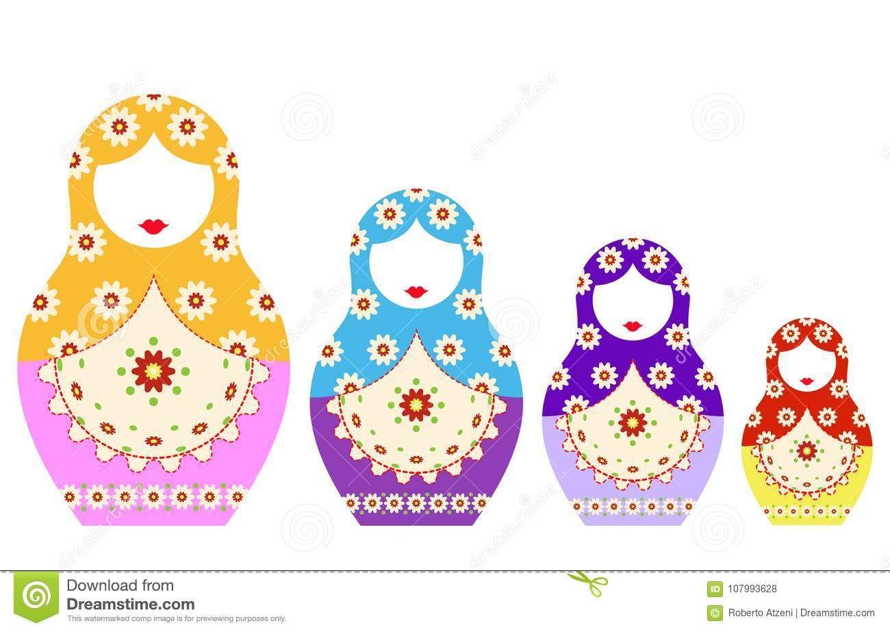 Matryoshka Set Icon Russian Nesting Doll With Ornament