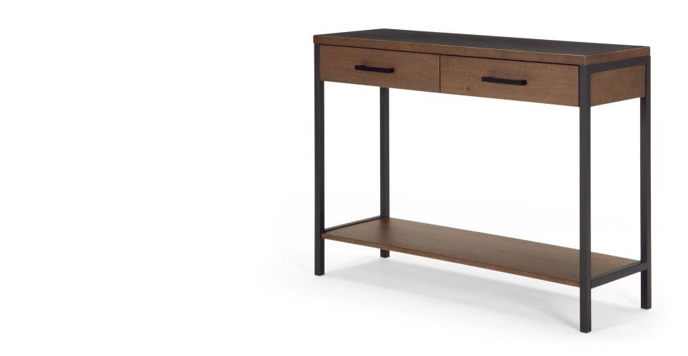Depot console bois de pin teinté made.com console entrée