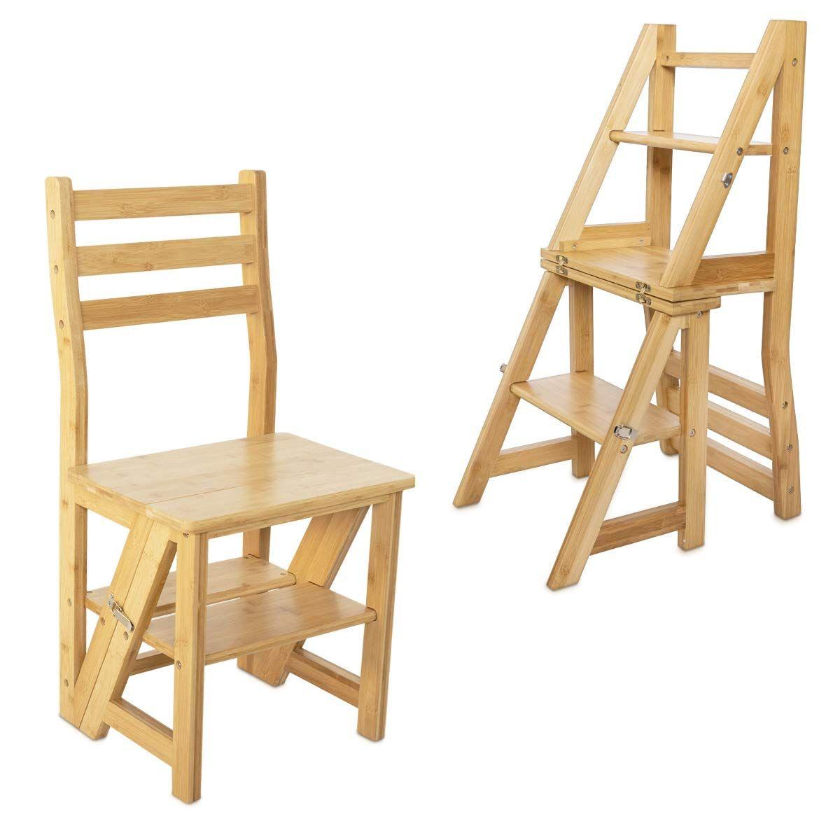 Navaris Faltstuhl Mit Leiter Funktion Stuhl 3 Stufen Trittleiter Und Blumenleiter In Einem Bambus Klappstuhl Klapptritt In 2020 Faltstuhl Blumenleiter Trittleiter