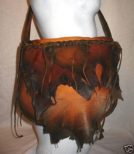"""Designer Leather Handbag, Deerskin Purse, Distressed Colored Deerskin Bag, Handmade Bag """"TIGER BAG"""""""