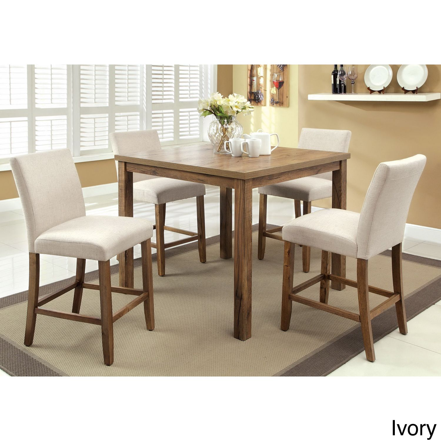 Furniture Of America Seline Weathered Elm Table Counter Height Dining Set    Overstock™ Shopping   Big Discounts On Furniture Of America Dining Sets