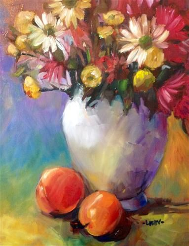 """Vase of Flowers"" - Original Fine Art for Sale - © Libby Anderson"