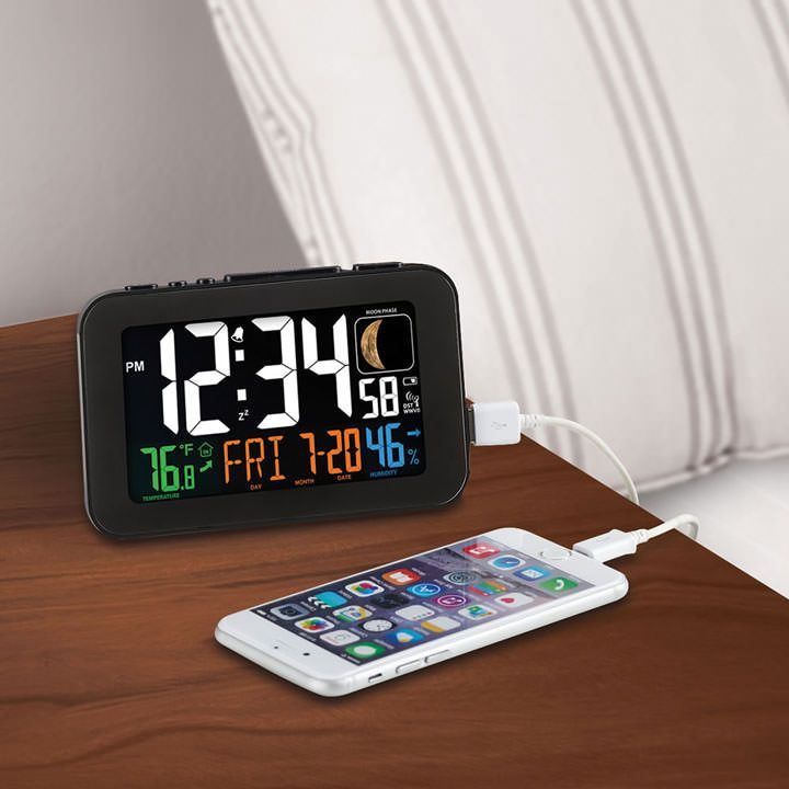 /& More Tablets NEW Atomic Alarm Desk Clock With USB Port To Charge Cell Phones