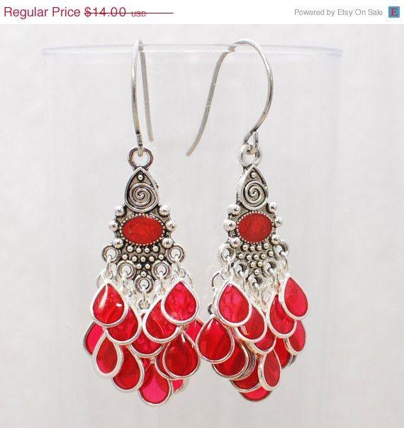 Bright Red Chandelier Earrings Scarlet Fan Faire CIJ Christmas In ...