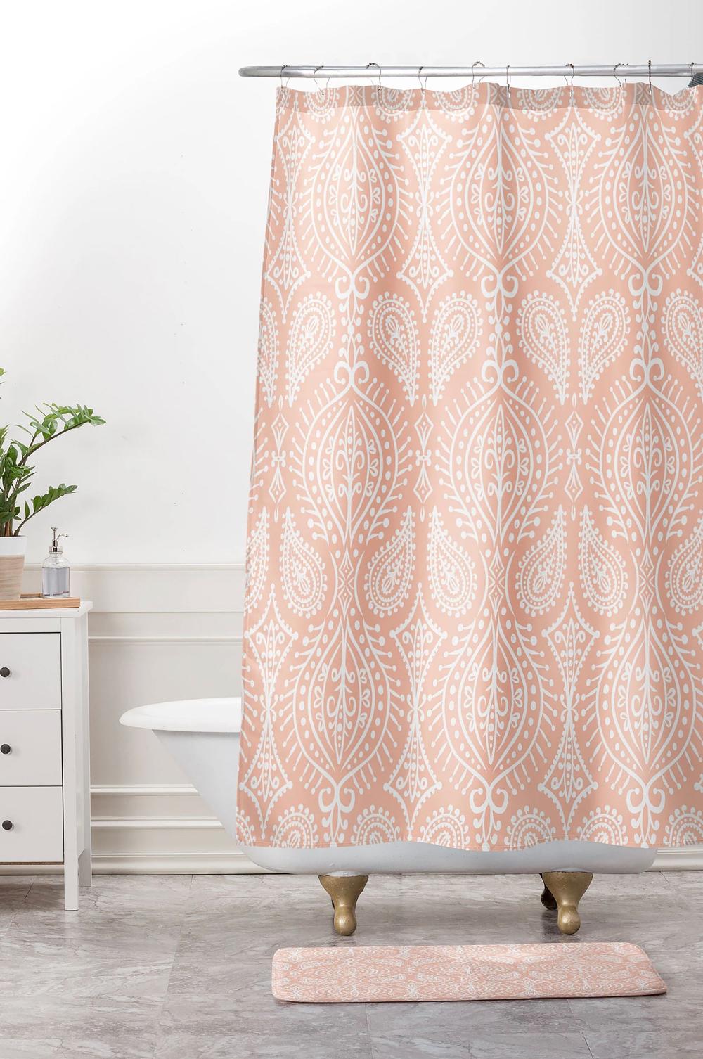 Blush Pink Shower Curtain Boho Shower Curtain Bathroom Decor
