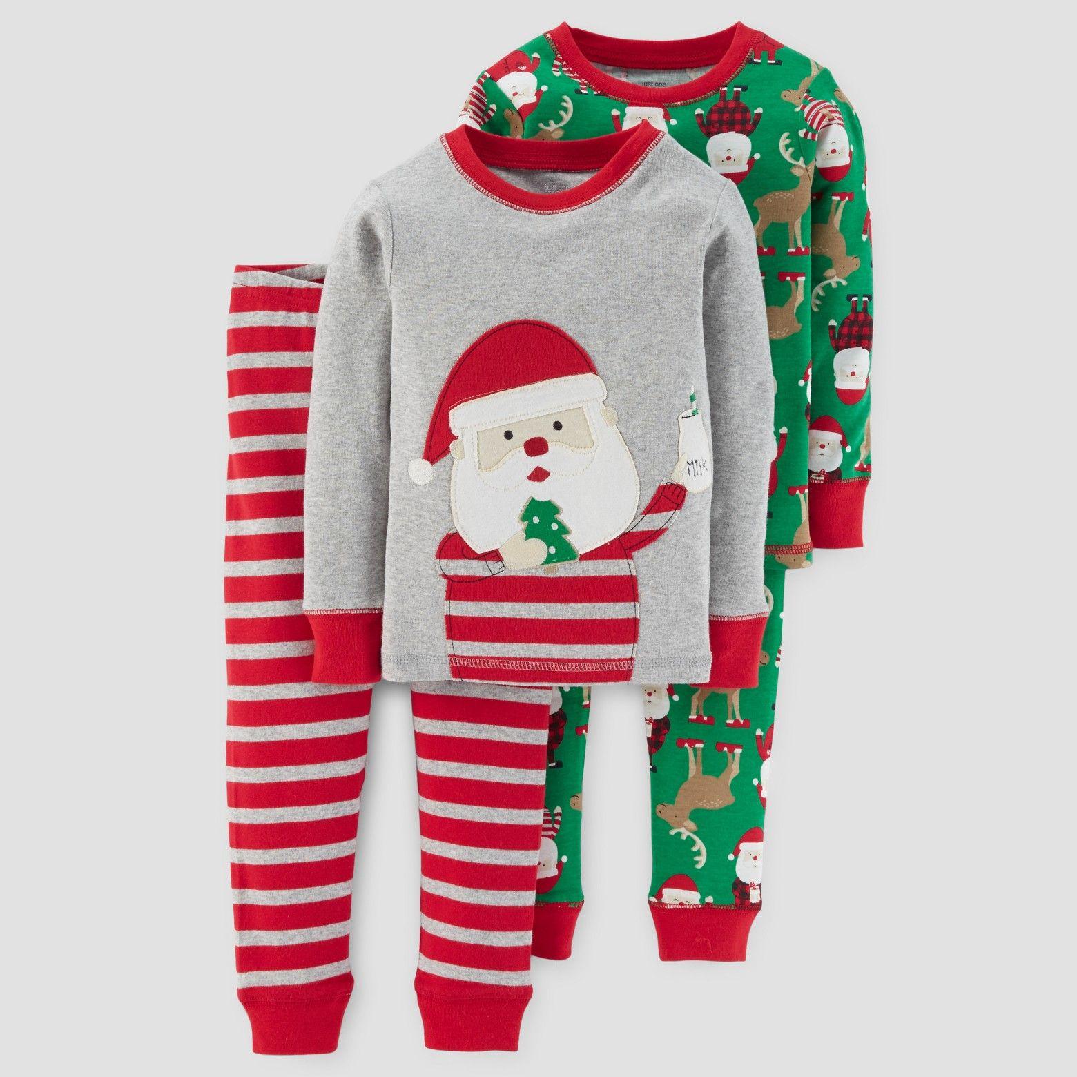 Baby Boys' 4pc Long Sleeve Milk & Cookies Pajama Set