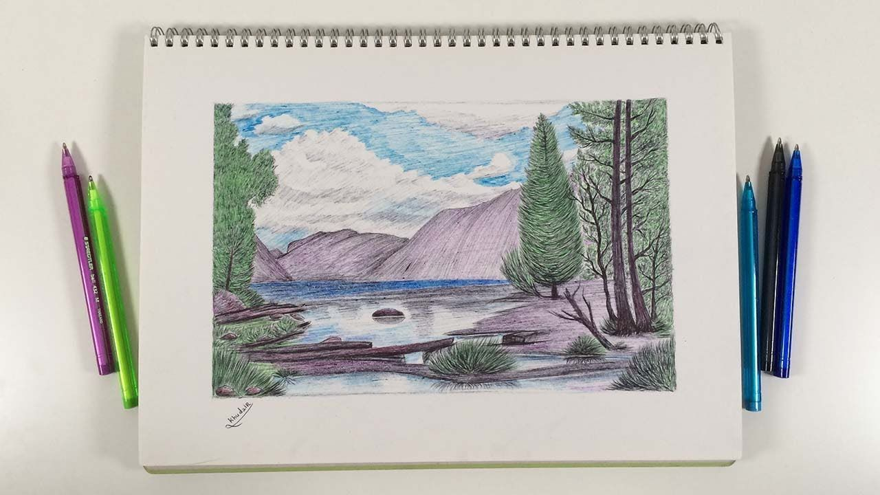 Drawing With A Dry Pen How To Draw A Landscape With Colored Real Tim Drawings Colored Pens Landscape