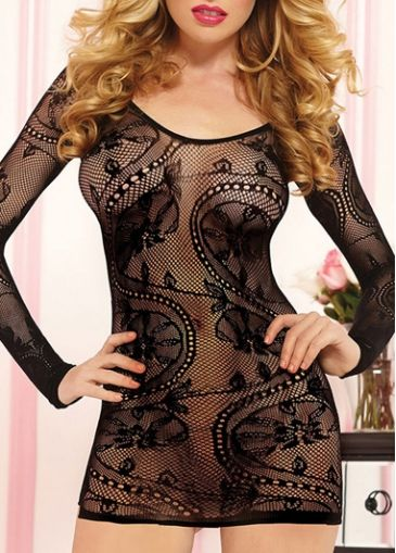 Black Long Sleeve Pierced Babydolls Nightwear with cheap wholesale price, buy Black Long Sleeve Pierced Babydolls Nightwear at rotita.com !