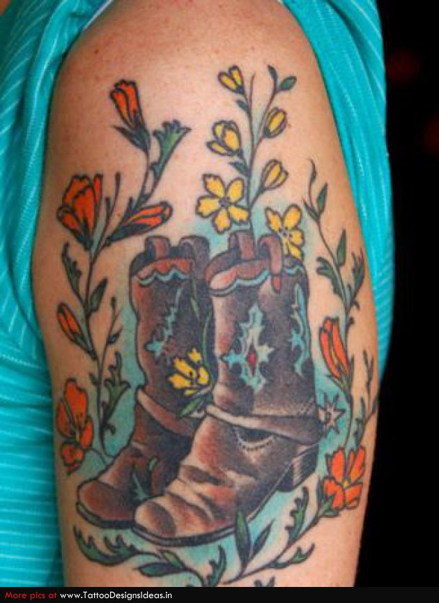 Traditional cowboy boot tattoo google search ink for Cowboy boot tattoo