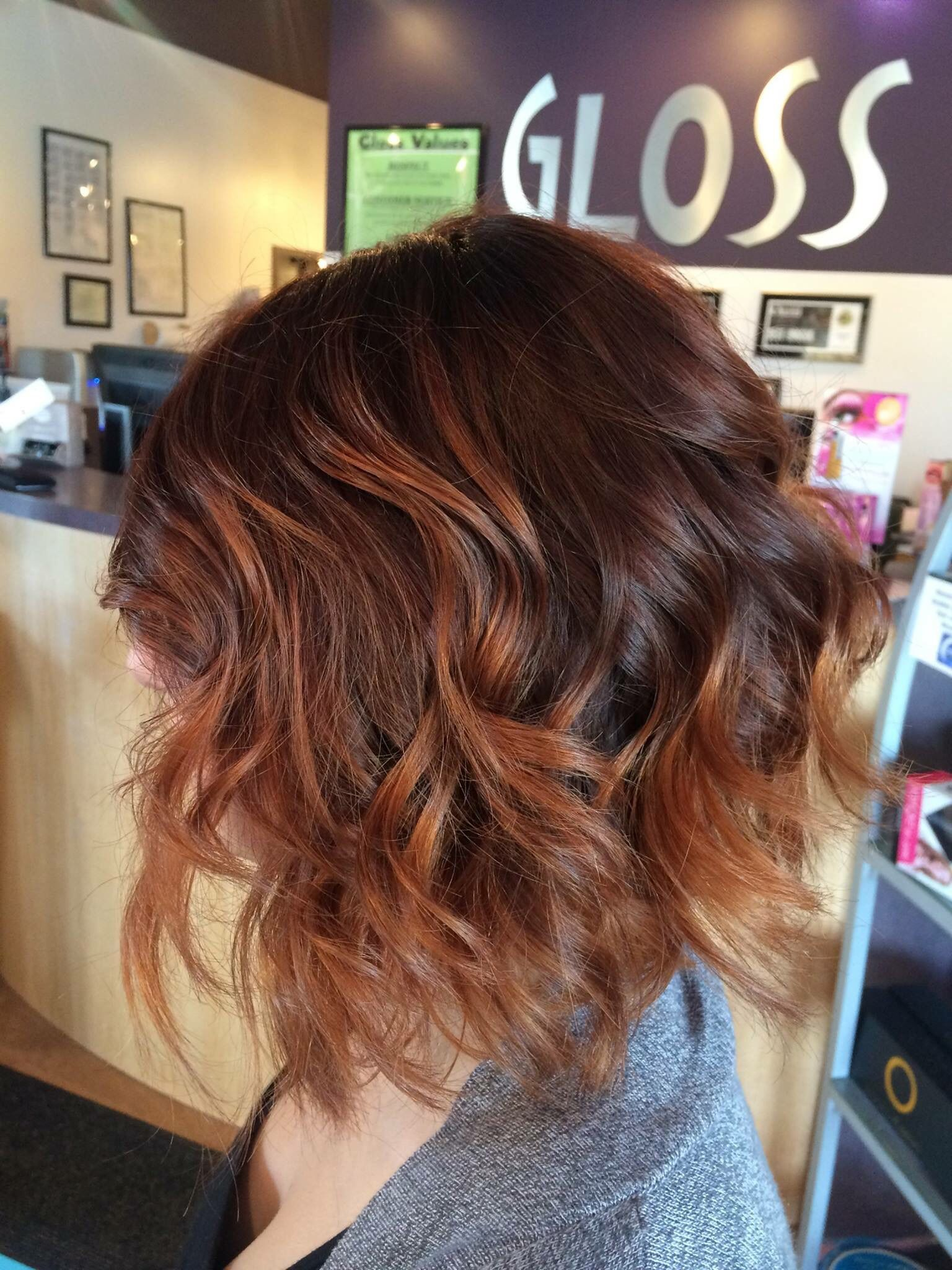 Auburn color with some golden balayage finished with a bob ...