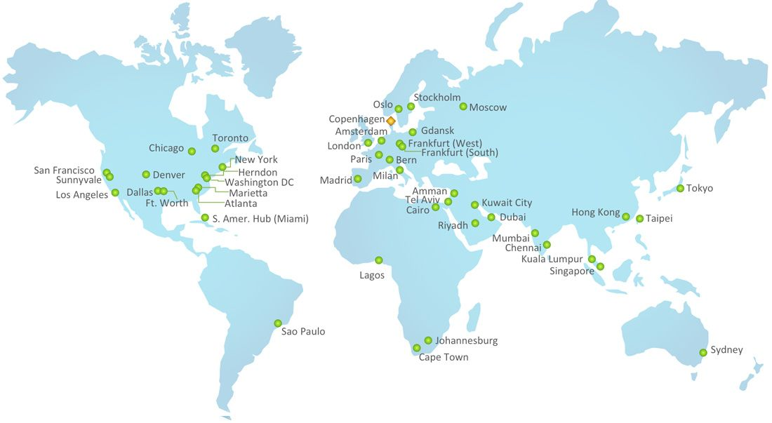 Global Data Centers Zscaler has the largest global #Internet - new world map kuwait city