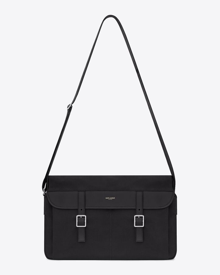 acc261bfb Saint Laurent Paris Hunting Messenger Bag in Black Canvas and ...