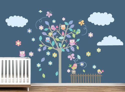Wandtattoo Baum Eule Glücklich Für Kinderzimmer Von Wall Decals Auf DaWanda .com