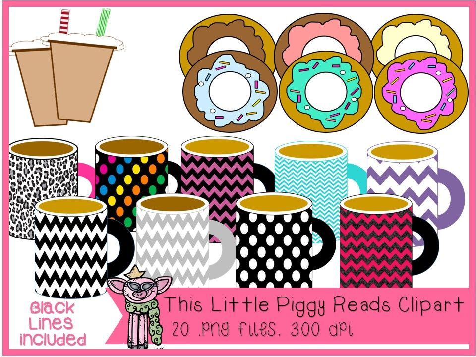 donuts and coffee hot cocoa mug clipart with blacklines hot cocoa clip art clip art freebies pinterest
