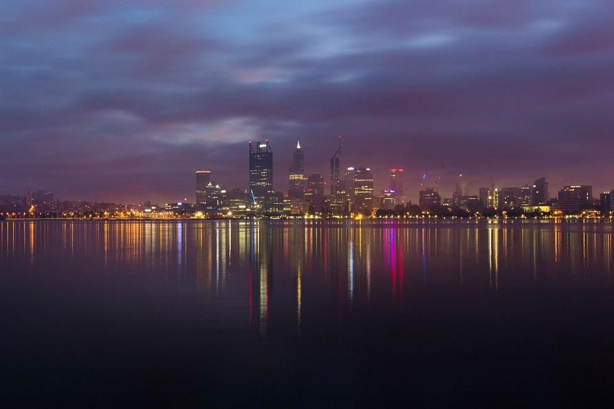 Purple Nighttime Skyline of Perth Capturing the Beautiful Modern Towers