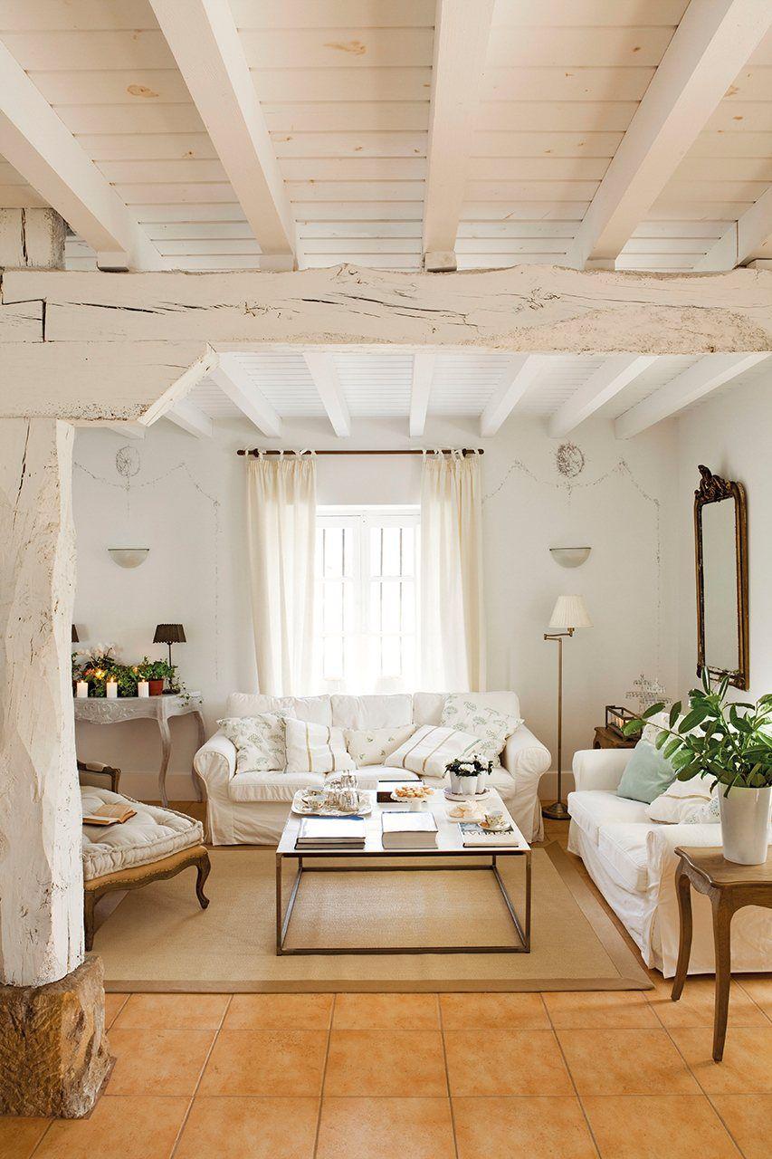 Realzar el techo paredes y techo de vigas se encalaron de for Techos para casas economicos precios