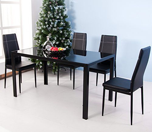 Merax 5piece Dining Set Glass Top Metal Table 4 Person Table And Chairs 47 Inch Black C Modern Dining Room Set Modern Dining Table Set Kitchen Table Settings